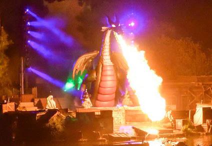 Fire breathing dragon animatronic the the Disneyland Fantasmic! Show