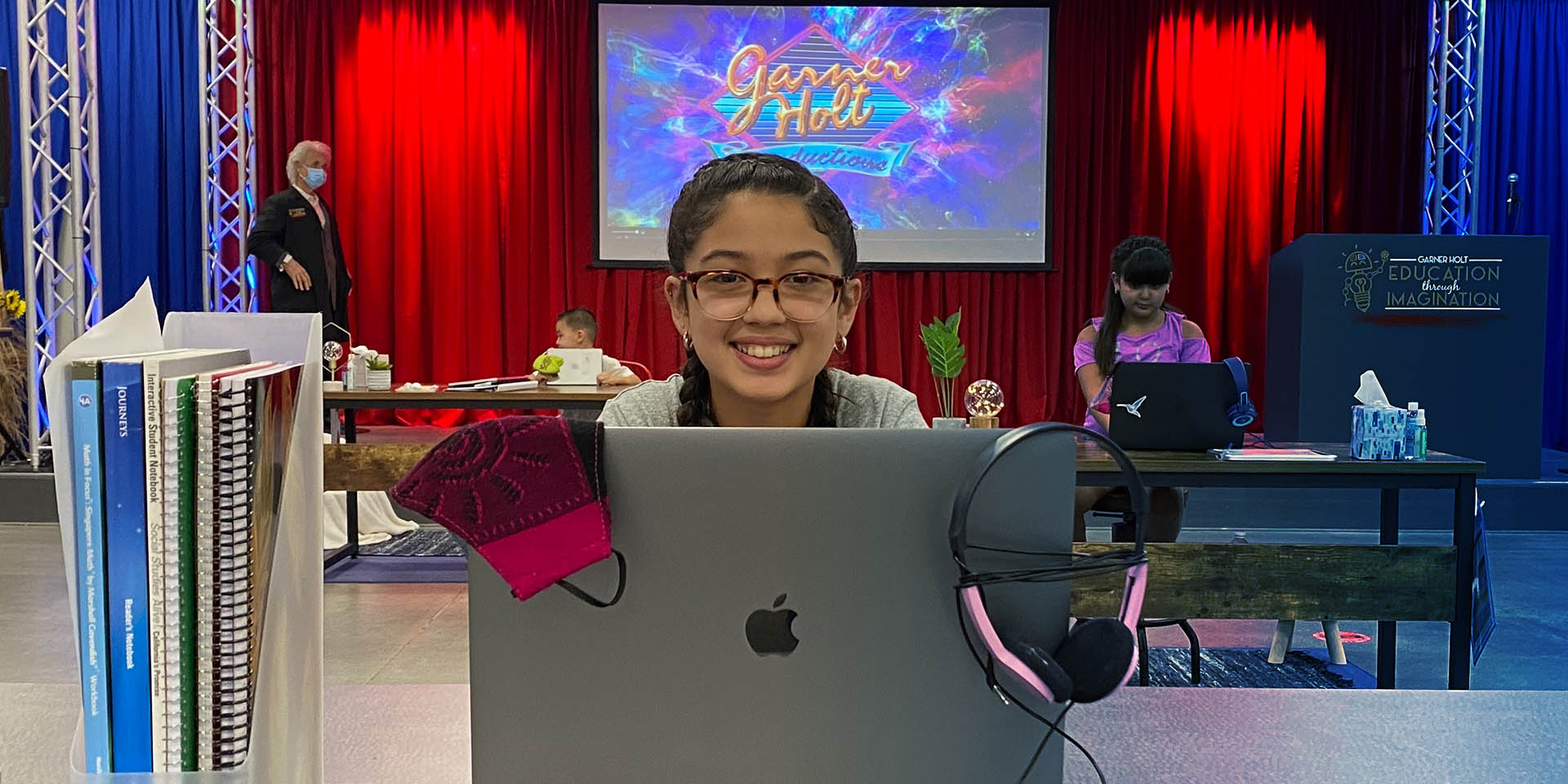 Girl distance learning at the Redlands Creative Learning lab